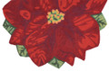 "POINSETTIA INDOOR OUTDOOR RUG - 24"" x 36"" DEMILUNE - CHRISTMAS RUG"