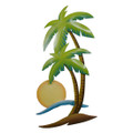 SWAYING PALM TREES METAL WALL SCULPTURE - TROPICAL DECOR