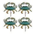 HOOKS & HANGERS - BLUE CRAB WALL HOOKS - SET OF FOUR - NAUTICAL WALL DECOR