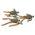WALL ART - SEA TURTLE TRIO METAL WALL SCULPTURE - COASTAL & NAUTICAL WALL DECOR