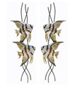 PAIR OF ANGELFISH DUO METAL WALL SCULPTURES - COASTAL & NAUTICAL DECOR