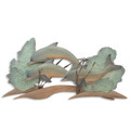 DOLPHIN REEF WOOD & METAL WALL SCULPTURE - COASTAL & NAUTICAL DECOR