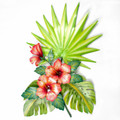 TROPICAL GARDEN METAL WALL SCULPTURE - TROPICAL DECOR