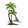 SWAYING PALM TREES & SAILBOAT METAL WALL SCULPTURE