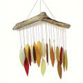 """FALL FOLIAGE"" GLASS & DRIFTWOOD WIND CHIME - LEAF WINDCHIME"