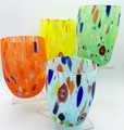"""ARLECCHINO"" MURANO STEMLESS WINE / OLD FASHIONED GLASSES - SET OF 4 - PASTEL COLORS"