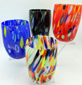 """""""ARLECCHINO"""" MURANO STEMLESS WINE / OLD FASHIONED GLASSES - SET OF 4 - PRIMARY COLORS"""