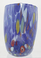 """ARLECCHINO"" MURANO GLASS STEMLESS WINE GLASS / OLD FASHIONED GLASS - BLUE"