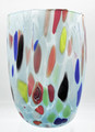 """ARLECCHINO"" MURANO GLASS STEMLESS WINE GLASS / OLD FASHIONED GLASS - PALE BLUE"
