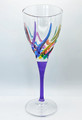 """VENETIAN CARNEVALE"" WINE GLASS - PURPLE STEM - HAND PAINTED CRYSTAL"