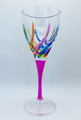 """VENETIAN CARNEVALE"" WINE GLASS - FUCHSIA STEM - HAND PAINTED CRYSTAL"