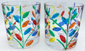 """""""MILANO"""" HAND PAINTED STEMLESS WINE / OLD FASHION GLASSES - PAIR - VENETIAN GLASSWARE"""