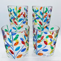 """""""MILANO"""" HAND PAINTED STEMLESS WINE / OLD FASHION GLASSES - SET OF 4 - VENETIAN GLASSWARE"""