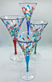 MILANO WINE GLASSES - SET OF FOUR - HAND PAINTED VENETIAN GLASSWARE SET