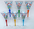 MILANO WINE GLASSES - SET OF SIX - HAND PAINTED VENETIAN GLASSWARE SET