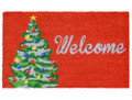 "CHRISTMAS TREE VINYL BACK COIR WELCOME MAT - 18"" X 30"" DOORMAT"