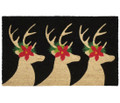 "REINDEER TRIO VINYL BACK COIR DOORMAT - 18"" X 30"" WELCOME MAT"