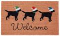 "CHRISTMAS LABS VINYL BACK COIR WELCOME MAT - 18"" X 30"" - LABRADOR RETRIEVER"
