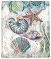 """SEASHORE TREASURES"" THROW BLANKET - 50"" X 60"" - SEASHELLS - STARFISH"