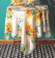 """SUNFLOWER & BUTTERFLIES POLYESTER TABLE TOPPER - 51.5"""" SQUARE TABLECLOTH"""