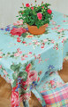 """ENGLISH ROSE"" POLYESTER TABLE TOPPER - 51.5"" SQUARE TABLECLOTH"