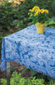"""CHATSWORTH"" POLYESTER TABLE TOPPER - 51.5"" SQUARE - BLUE & WHITE TABLECLOTH"