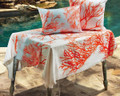"""CORAL REEF"" POLYESTER TABLE TOPPER - 51.5"" SQUARE TABLECLOTH - NAUTICAL DECOR"