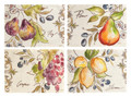 """SUMMER FRUIT"" PLACEMATS - SET OF FOUR - PEARS - LEMONS - GRAPES - FIGS"