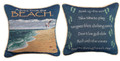"""ADVICE FROM THE BEACH"" REVERSIBLE TAPESTRY PILLOW - 12"" SQUARE - NAUTICAL DECOR"