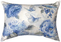 """GARDEN IN BLUE"" INDOOR OUTDOOR OBLONG PILLOW - 18"" X 13"""