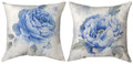 """GARDEN IN BLUE"" INDOOR OUTDOOR REVERSIBLE PILLOW #1 - 18"" SQUARE"