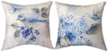 """GARDEN IN BLUE"" INDOOR OUTDOOR REVERSIBLE PILLOW #2 - 18"" SQUARE  - FLORAL DECOR"
