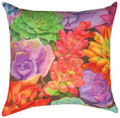 "TROPICAL SUCCULENTS INDOOR OUTDOOR PILLOW - 18"" SQUARE - FLORAL DECOR"