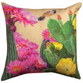 """FLOWERING CACTUS"" INDOOR OUTDOOR PILLOW - 18"" SQUARE - FLORAL DECOR"