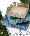 "DECORATIVE TRAYS - ""FLORENTINA"" DECORATIVE METAL TRAYS - SET OF THREE - GRADUATED SIZES"