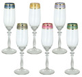 """ITALIAN GLASSWARE SETS - """"FIRENZE"""" CHAMPAGNE GLASSES - SET OF SIX - CHAMPAGNE FLUTES WITH MULTICOLOR BANDS"""