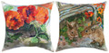 """BUNNIES IN THE GARDEN"" INDOOR OUTDOOR REVERSIBLE PILLOW - 18"" SQUARE"