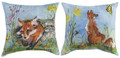 """LITTLE FOXES"" INDOOR OUTDOOR REVERSIBLE PILLOW - 18"" SQUARE - FOX PILLOW"
