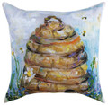 """BUSY BEEHIVE INDOOR OUTDOOR PILLOW - 18"""" SQUARE - SKEP HIVE"""