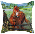 """STATELY STALLION"" INDOOR OUTDOOR PILLOW - 18"" SQUARE - HORSES"