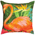 """FLAMINGO IN PARADISE"" INDOOR OUTDOOR PILLOW - TROPICAL DECOR - 18"" SQUARE"