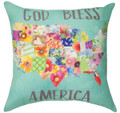 """GOD BLESS AMERICA"" INDOOR OUTDOOR PILLOW - FLORAL DECOR - 18"" SQUARE"