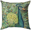 """MAJESTIC PEACOCK"" INDOOR OUTDOOR THROW PILLOW - 18"" SQUARE"