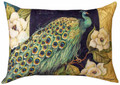 """PEACOCK & MAGNOLIA BLOSSOMS"" INDOOR OUTDOOR PILLOW - 18"" X 13"""
