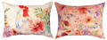 """ROOSTER IN THE GARDEN"" INDOOR OUTDOOR REVERSIBLE PILLOW - 18"" X 13"" OBLONG PILLOW"