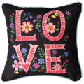 """""""ALL YOU NEED IS LOVE"""" FLORAL PILLOW - 12"""" SQUARE - FLORAL DECOR"""