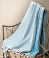 """CHESTERFIELD"" CHEVRON DESIGN THROW BLANKET - AQUA - 50"" X 60"""