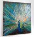 "PAINTINGS - ""ELEGANT PEACOCK"" HAND PAINTED CANVAS WALL ART - WALL DECOR"