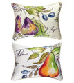 """SUMMER FRUIT OBLONG REVERSIBLE THROW PILLOW #1 - 18"""" X 13"""" - FIGS & PEARS"""