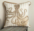 "EMBROIDERED OCTOPUS THROW PILLOW - 17"" SQUARE - NAUTICAL DECOR"
